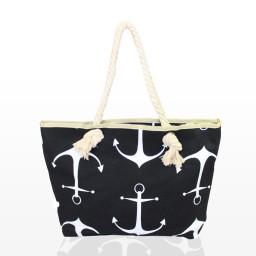 Плажна чанта с котва черна