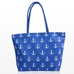 Плажна чанта с малки котви синя