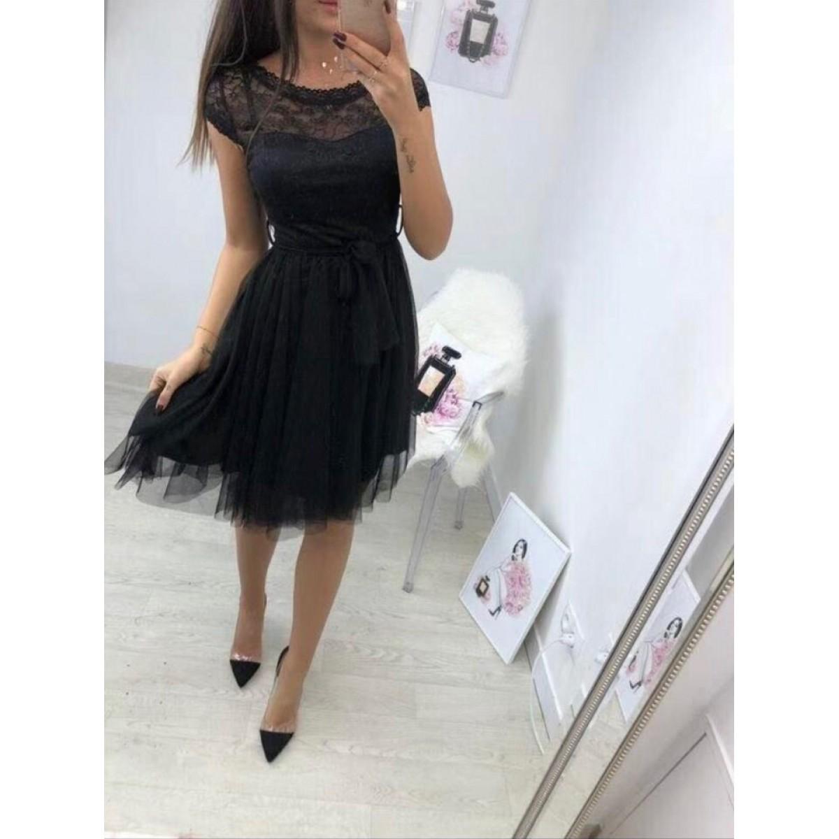 77c9725e4ad Черна рокля с тюл - Damski.bg
