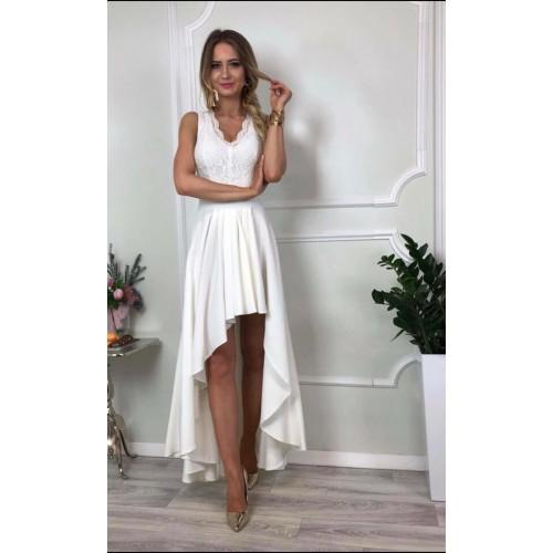 Дълга дамска рокля - бяла