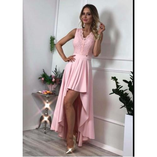 Дълга дамска рокля - розова