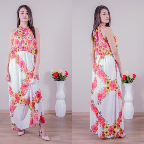Дълга ефирна рокля с флорални мотиви