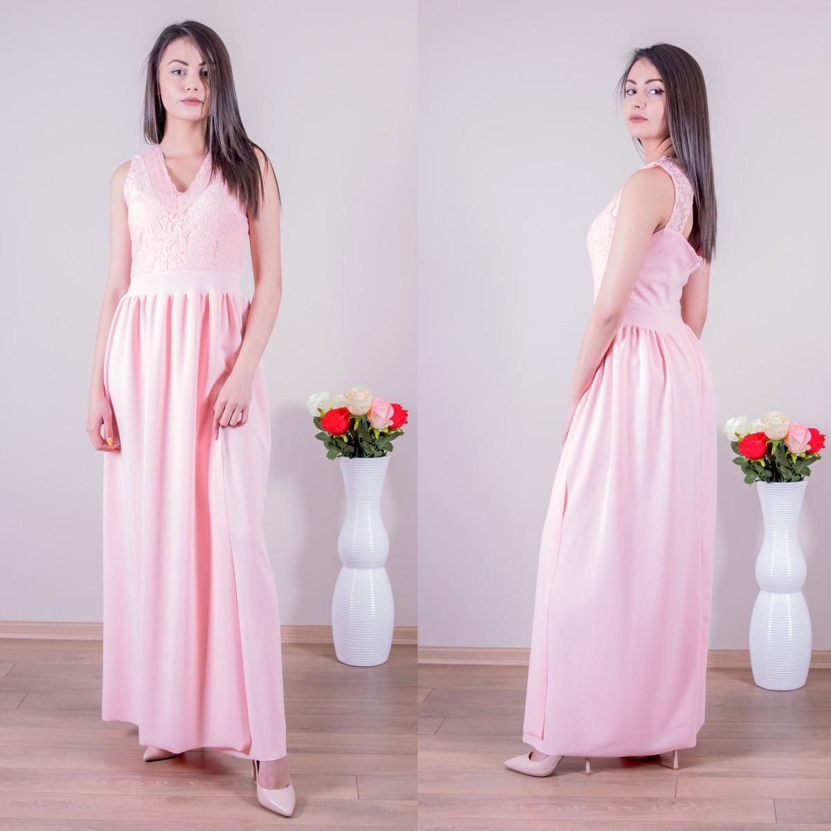 Дълга елегантна рокля в розово