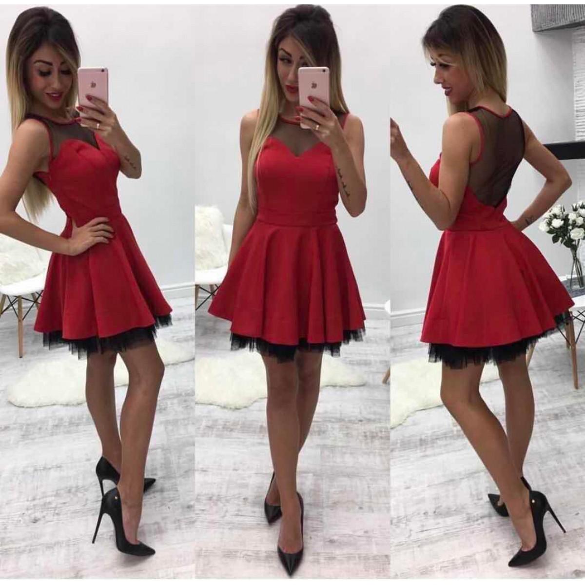 249f6bf4845 Дамска червена рокля - 3016 - Damski.bg