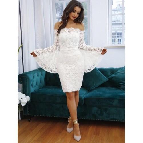 Дамска дантелена рокля - бяла