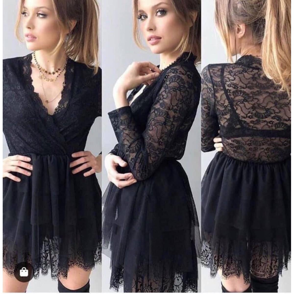 Дамска къса рокля с тюл