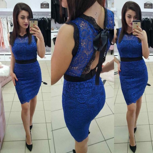 Дамска къса рокля в синьо