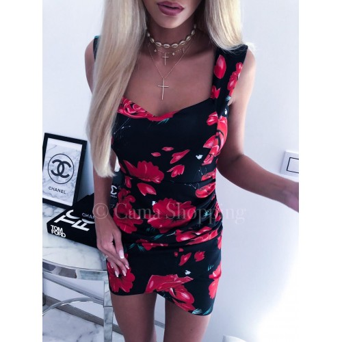 Дамска рокля на цветя - черна