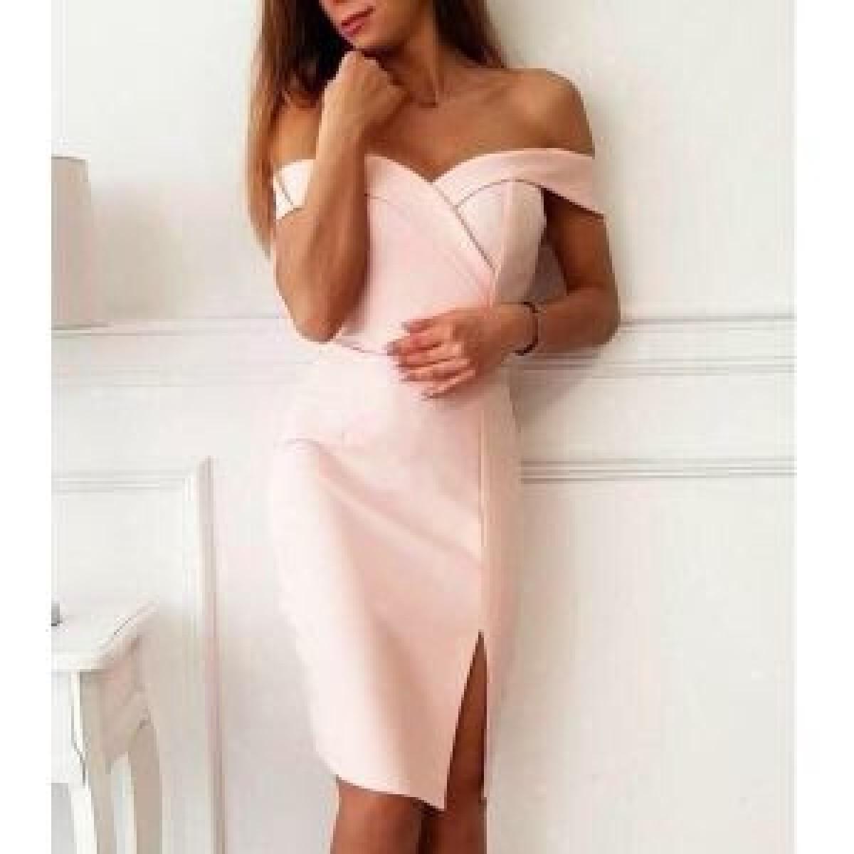 Дамска рокля с цепка - розова