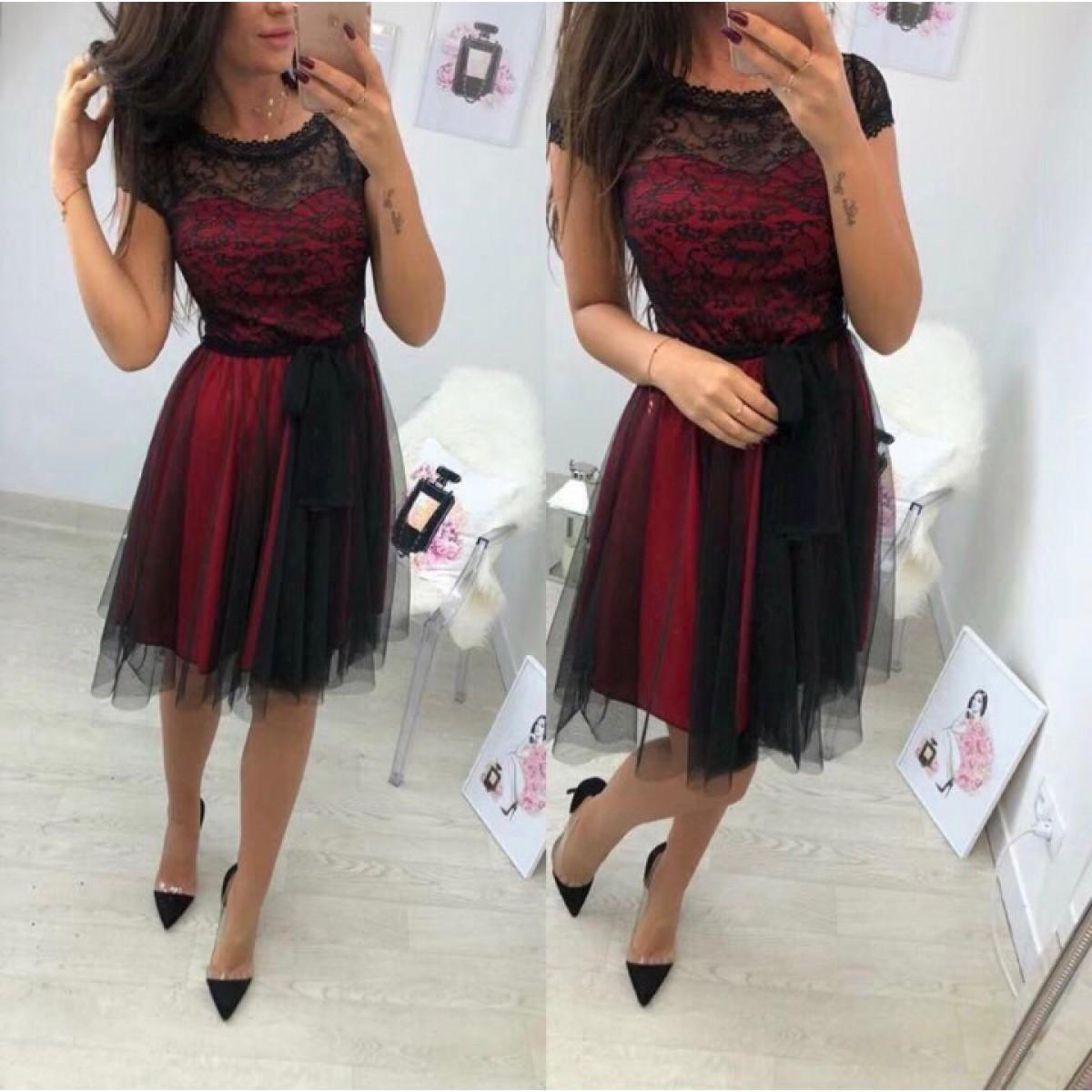 Дамска рокля с тюл - червена