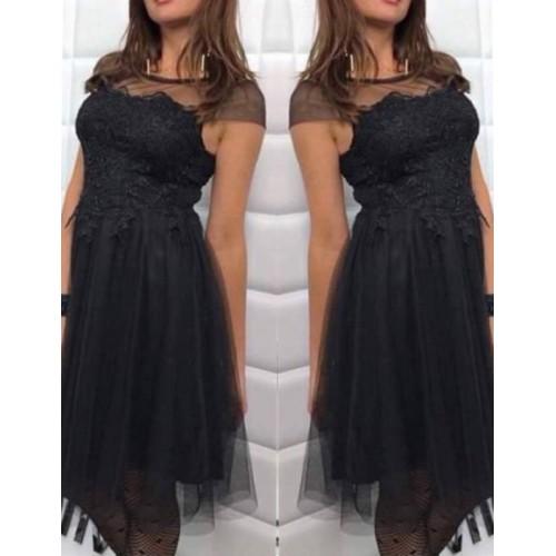 Дамска рокля с тюл и дантела
