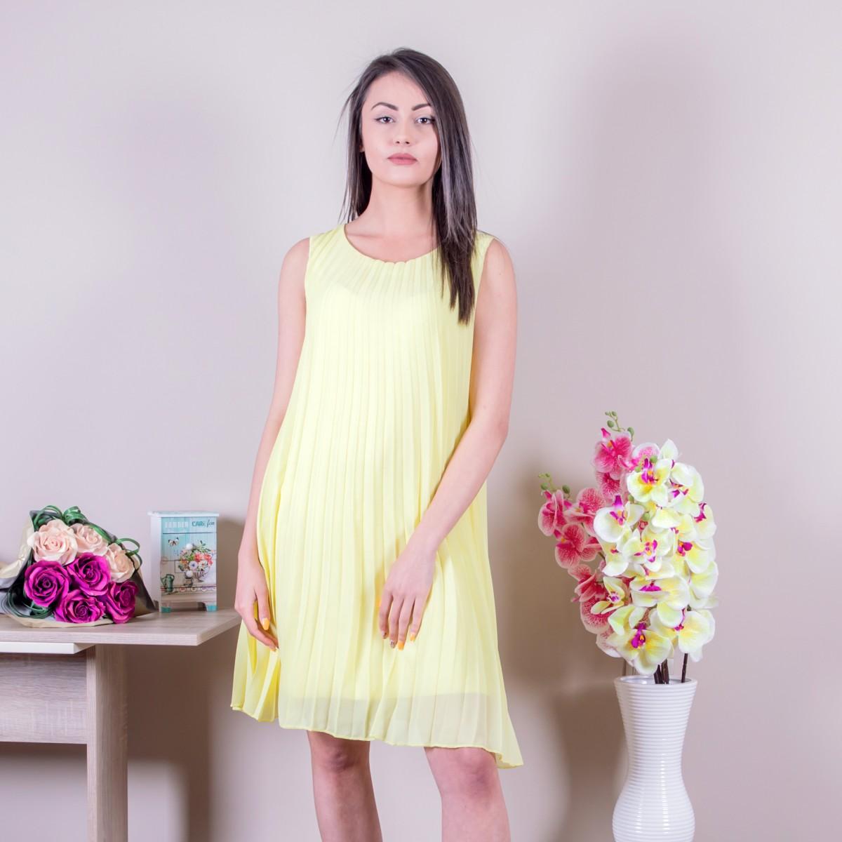 Дамска шифонена рокля в жълто Снимка 2 от 2
