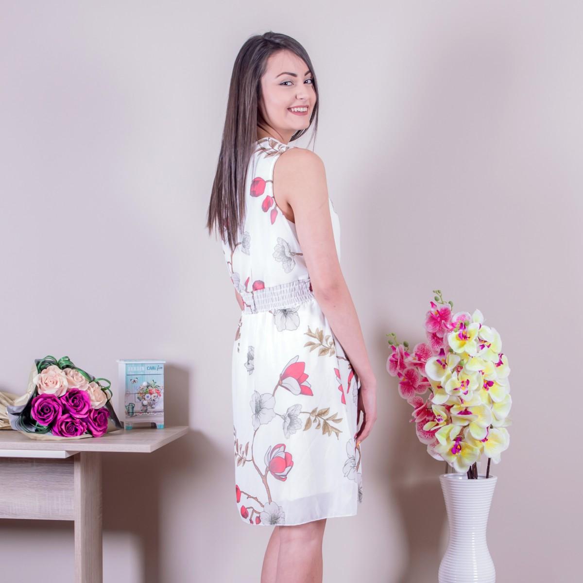 Ежедневна дамска рокля в бяло Снимка 2 от 2