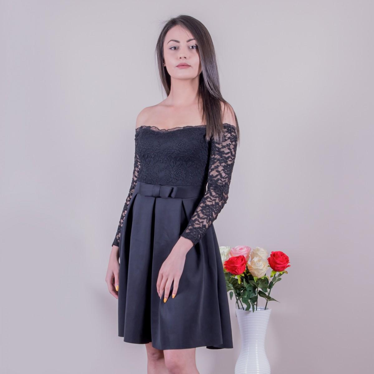 Елегантна рокля с дантелени ръкави Снимка 2 от 2