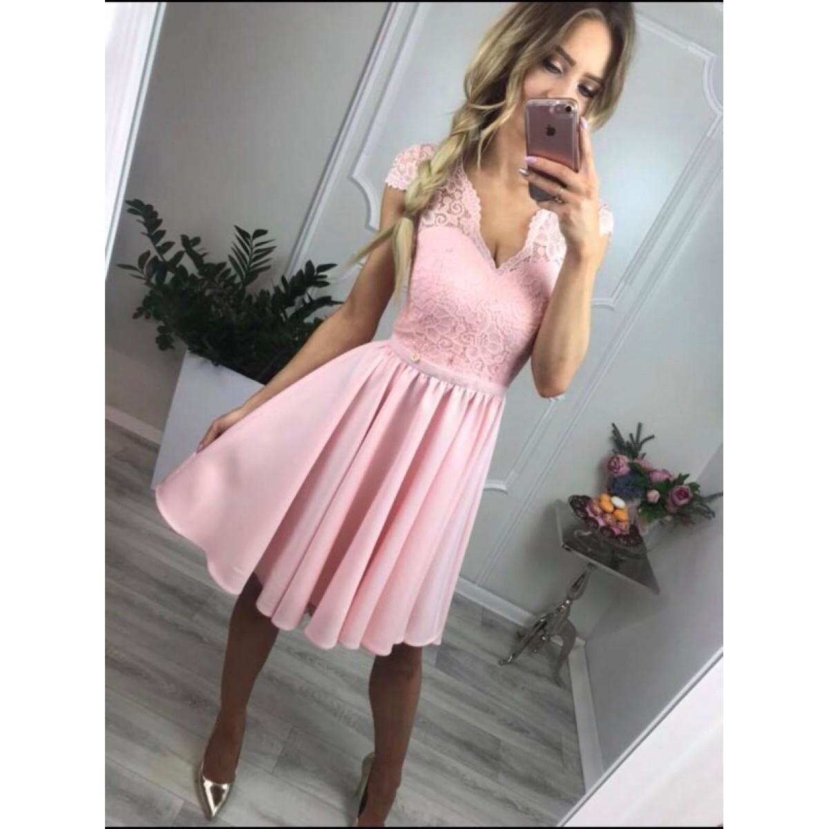 Къса дамска рокля - розова