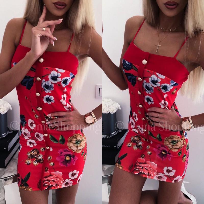 Къса дамска рокля с цветя - червена