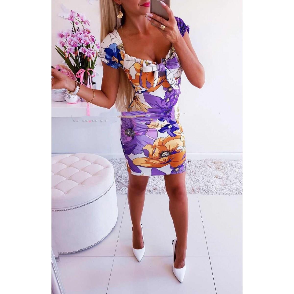 Къса рокля на цветя - 2962