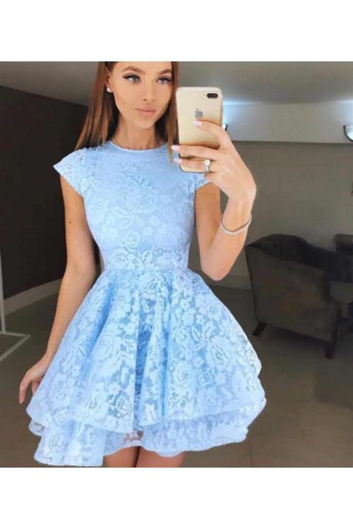 Кокетна дамска рокля - синя