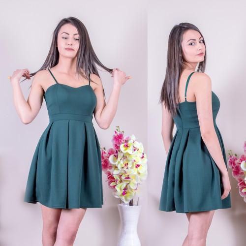 Кокетна рокля в тъмно зелено