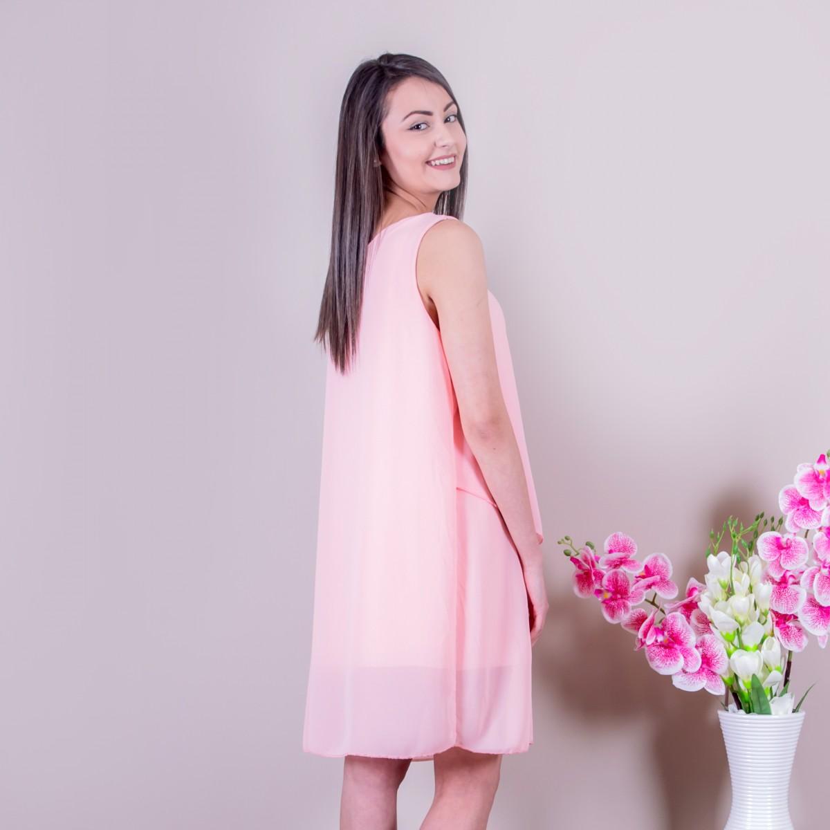 Свободна дамска рокля в розово Снимка 2 от 2
