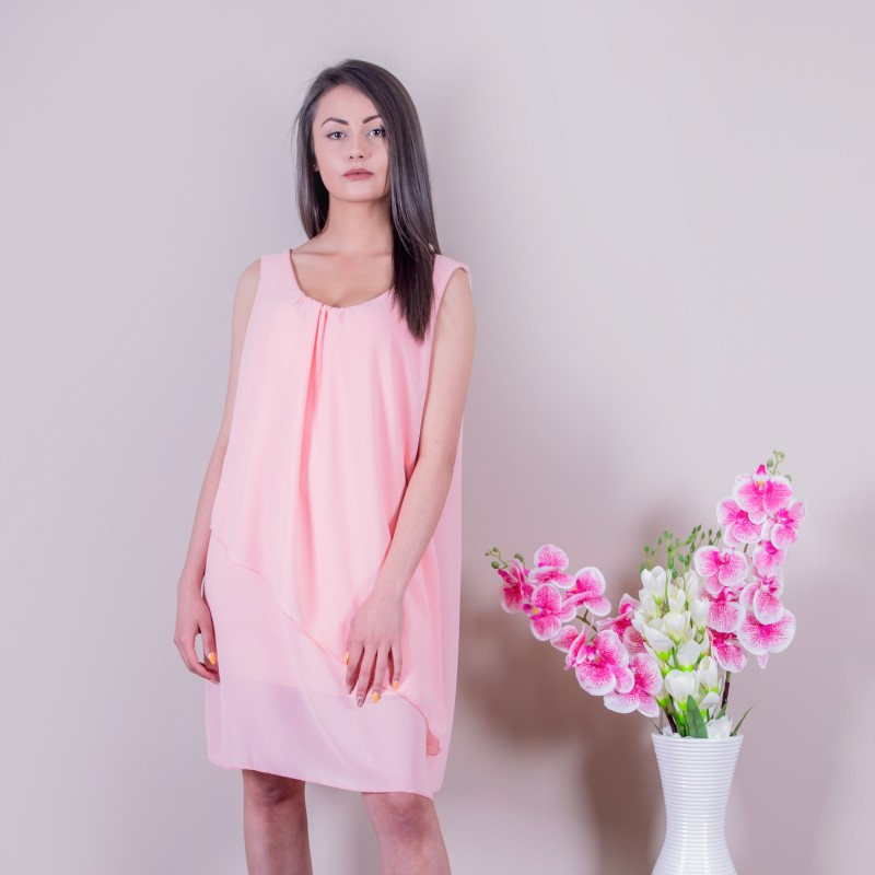 Свободна дамска рокля в розово