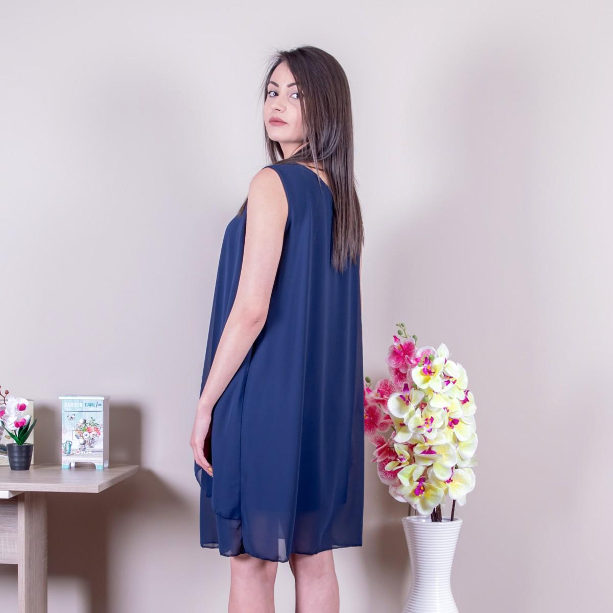 Свободна дамска рокля в синьо Снимка 2 от 2