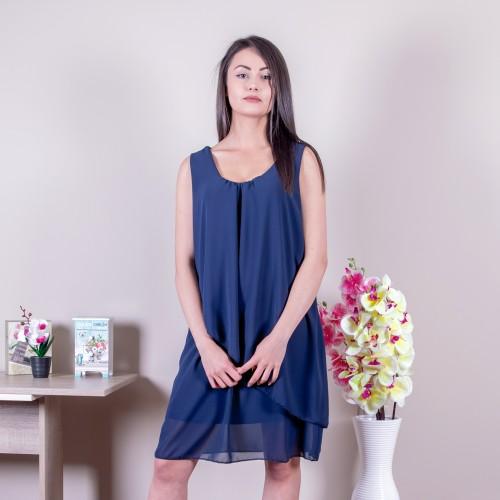Свободна дамска рокля в синьо