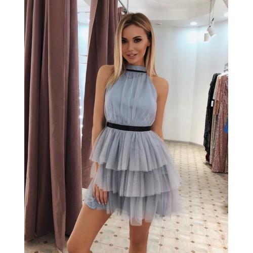 Тюлена дамска рокля - светло синя