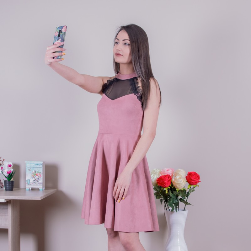 Велурена рокля в пепел от рози