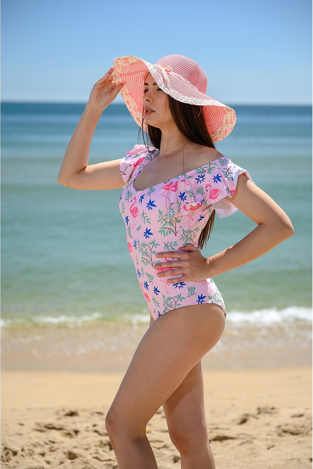 Цял Бански Костюм с фламинго - Розов Снимка 4 от 4