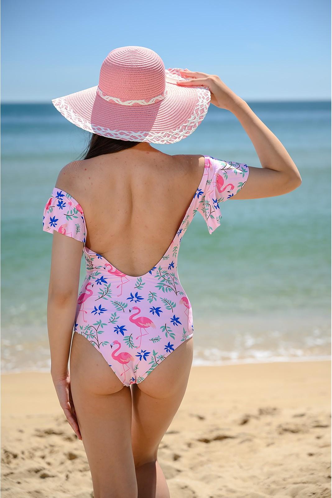 Цял Бански Костюм с фламинго - Розов Снимка 2 от 4