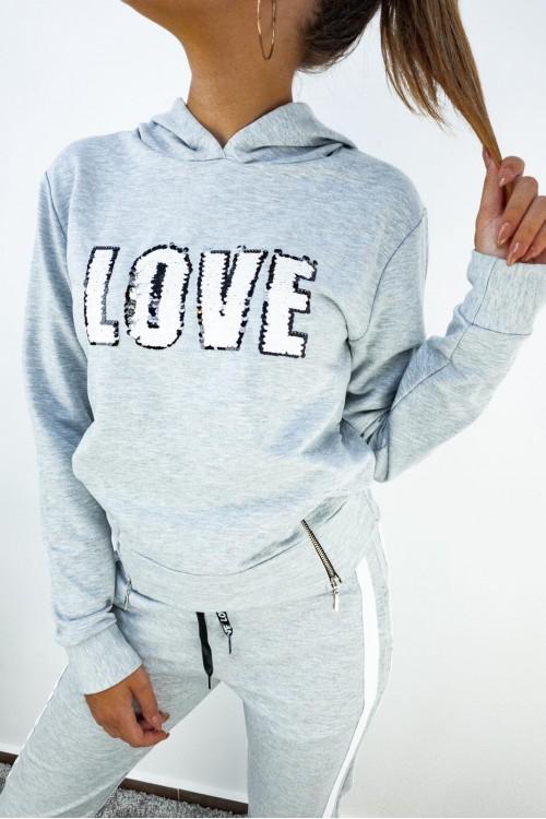 Блуза с дълъг ръкав в сив цвят - LOVE