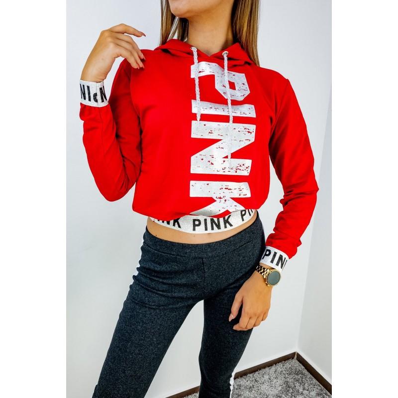 Дамска блуза с надпис в червен цвят