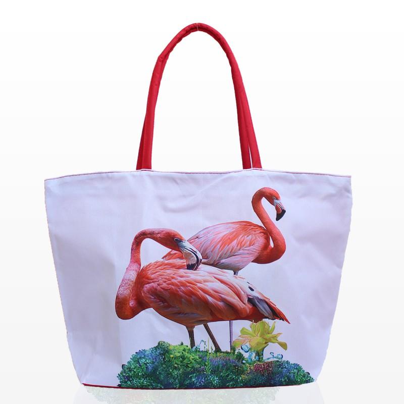 Бяла Плажна Чанта с Фламинго 2
