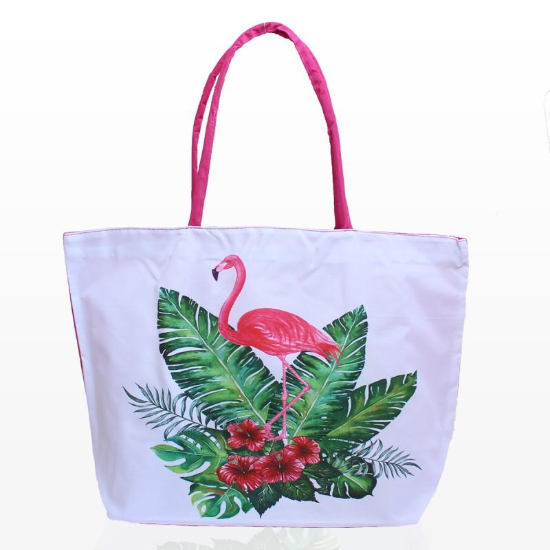 Бяла Плажна Чанта с Фламинго 3