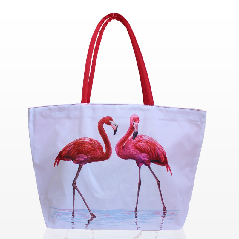 Бяла Плажна Чанта с Фламинго