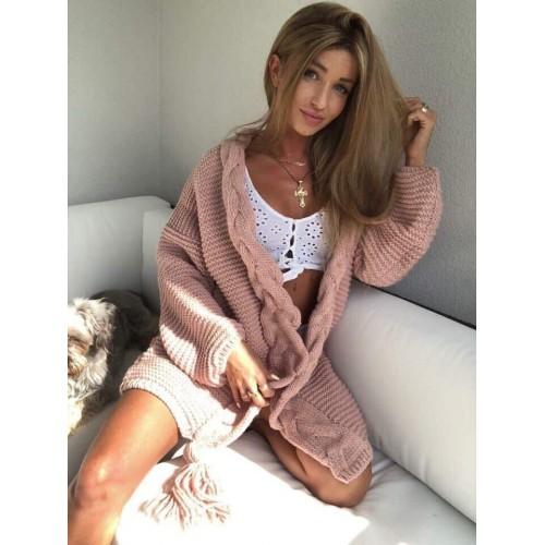 Дамска жилетка с пискюл - розова