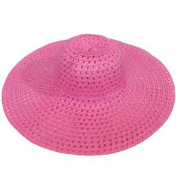 Дамска плажна шапка с голяма периферия - розова