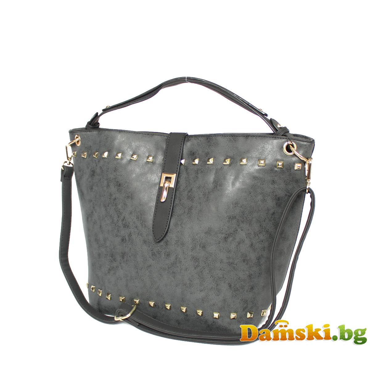 Ежедневна дамска чанта - Графитена Снимка 2 от 3