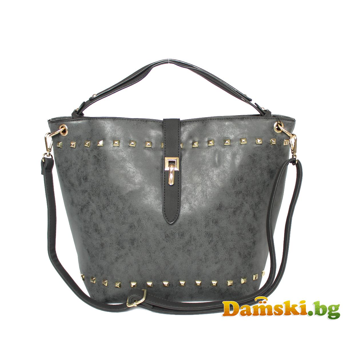 Ежедневна дамска чанта - Графитена