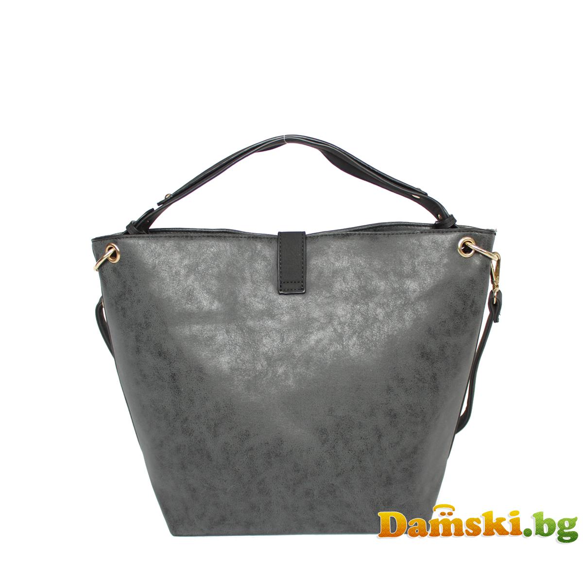 Ежедневна дамска чанта - Графитена Снимка 3 от 3