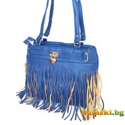 Дамска чанта Стейси с ресни - синя