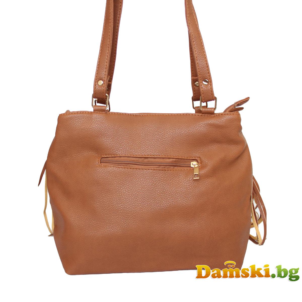 Дамска чанта Стейси с ресни - кафява Снимка 2 от 3