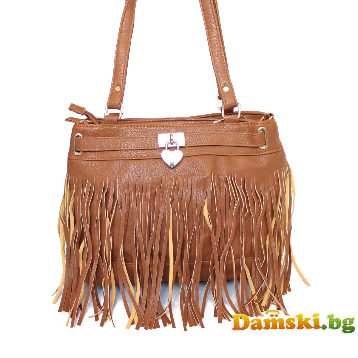 Дамска чанта Стейси с ресни - кафява Снимка 3 от 3