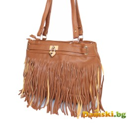 Дамска чанта Стейси с ресни - кафява
