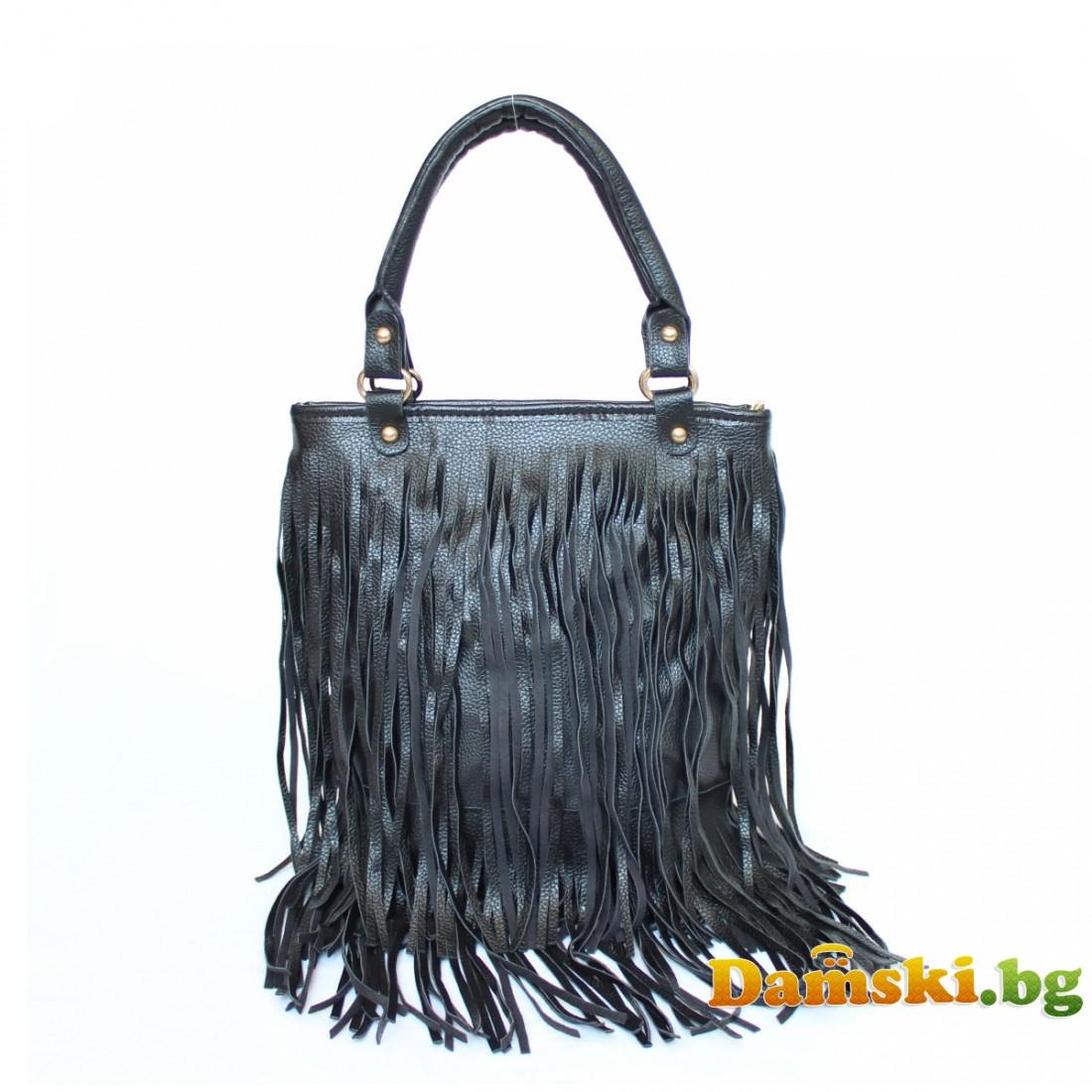 Ежедневна дамска чанта с ресни - черна