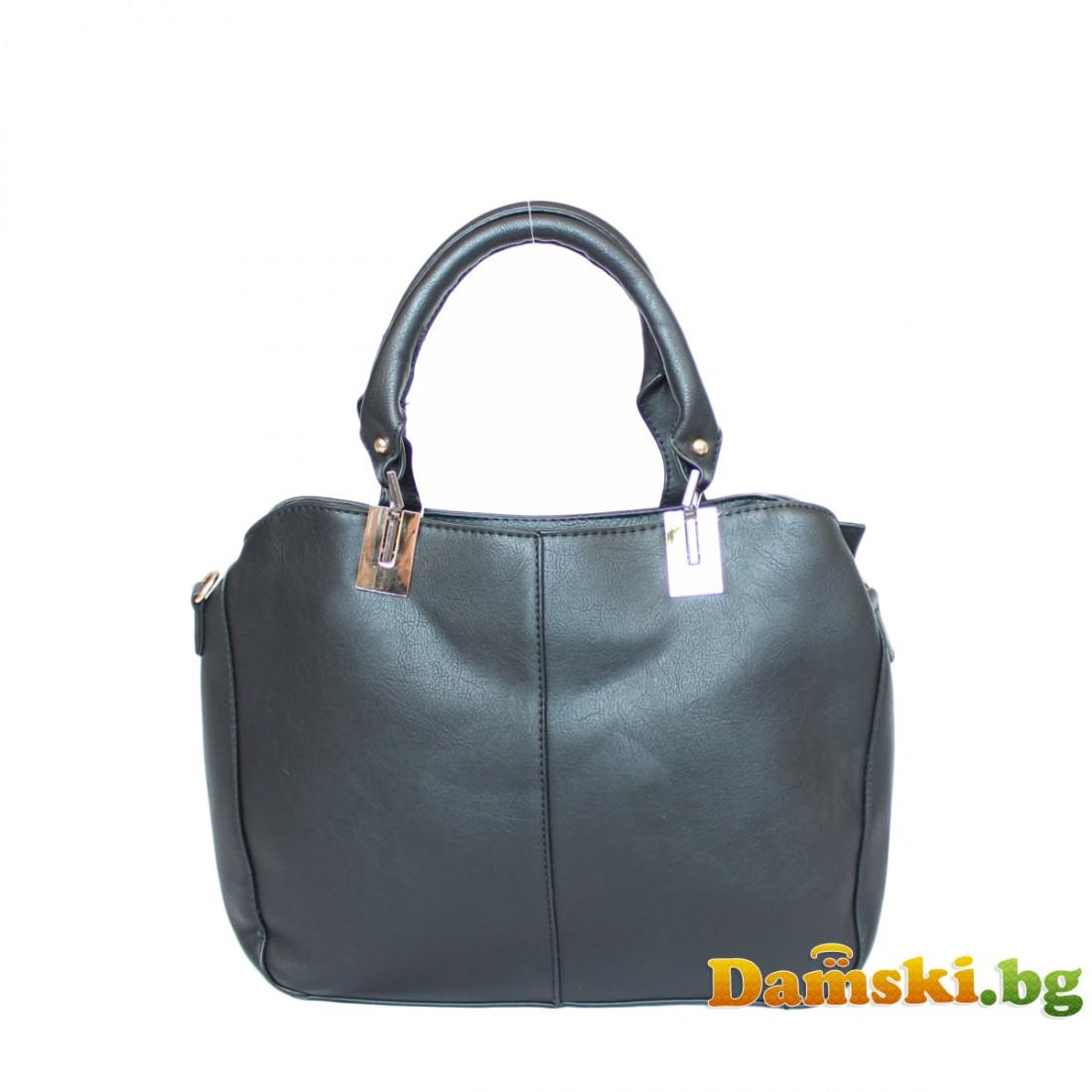 Ежедневна дамска чанта тип куфарче - черна