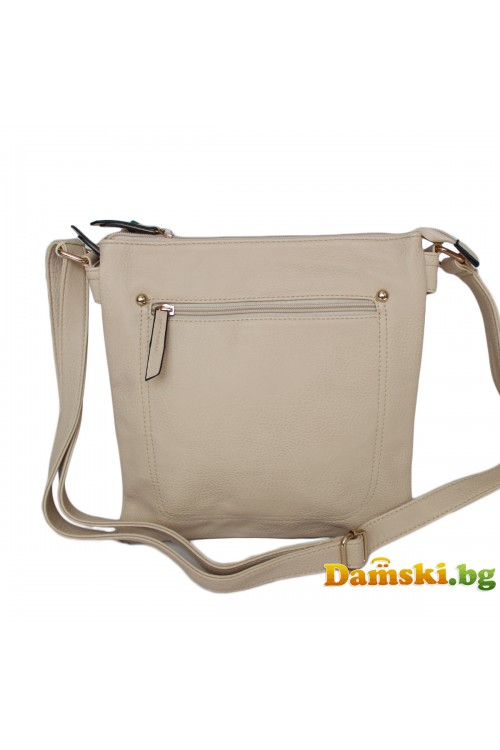 Дамска чанта през рамо - светло кафява