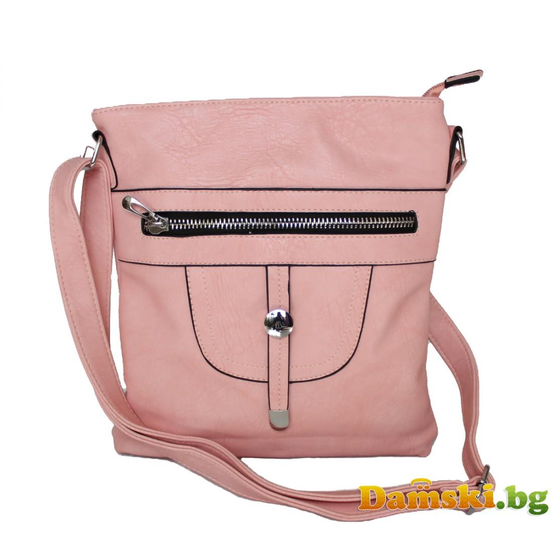 Дамска чанта през рамо Мелани - Светло розова