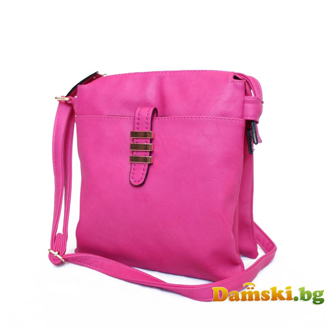 Дамска чанта през рамо - цикламена